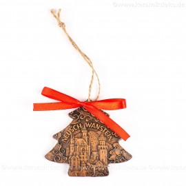 Schloss Neuschwanstein - Weihnachtsbaum-form, braun, handgefertigte Keramik, Weihnachtsbaumschmuck