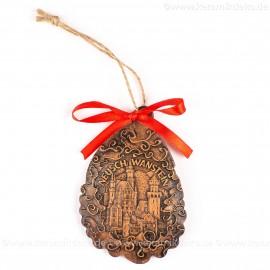 Schloss Neuschwanstein - Weihnachtsmann-form, braun, handgefertigte Keramik, Baumschmuck zu Weihnachten