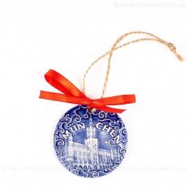 München - Neues Rathaus - runde form, blau, handgefertigte Keramik, Weihnachtsbaumschmuck