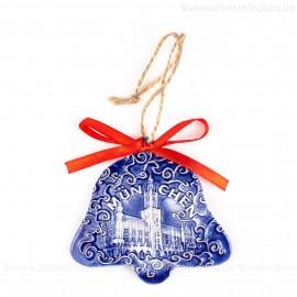München - Neues Rathaus - Glockenform, blau, handgefertigte Keramik, Baumschmuck zu Weihnachten