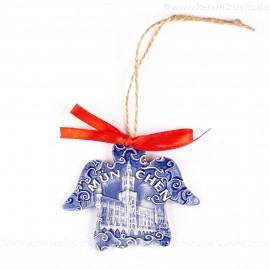 München - Neues Rathaus - Engelform, blau, handgefertigte Keramik, Weihnachtsbaum-Hänger