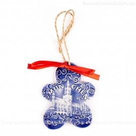 München - Neues Rathaus - Keksform, blau, handgefertigte Keramik, Christbaumschmuck