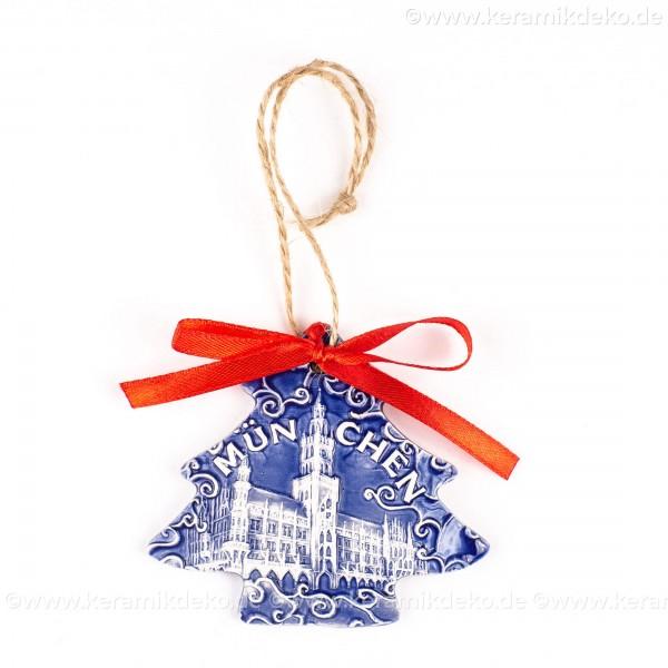München - Neues Rathaus - Weihnachtsbaum-form, blau, handgefertigte Keramik, Weihnachtsbaumschmuck