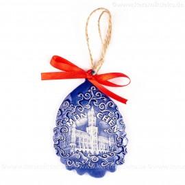 München - Neues Rathaus - Weihnachtsmann-form, blau, handgefertigte Keramik, Baumschmuck zu Weihnachten