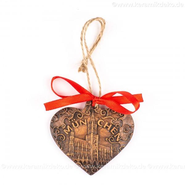 München - Neues Rathaus - Herzform, braun, handgefertigte Keramik, Weihnachtsbaum-Hänger