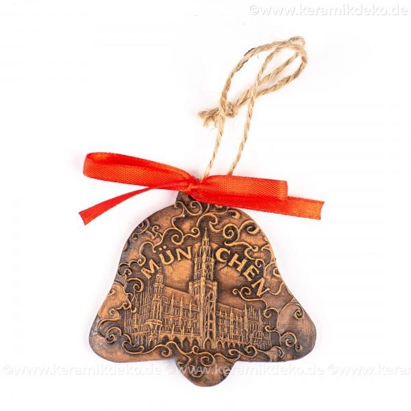 München - Neues Rathaus - Glockenform, braun, handgefertigte Keramik, Baumschmuck zu Weihnachten