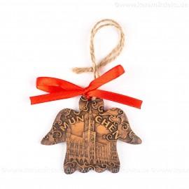 München - Neues Rathaus - Engelform, braun, handgefertigte Keramik, Weihnachtsbaum-Hänger