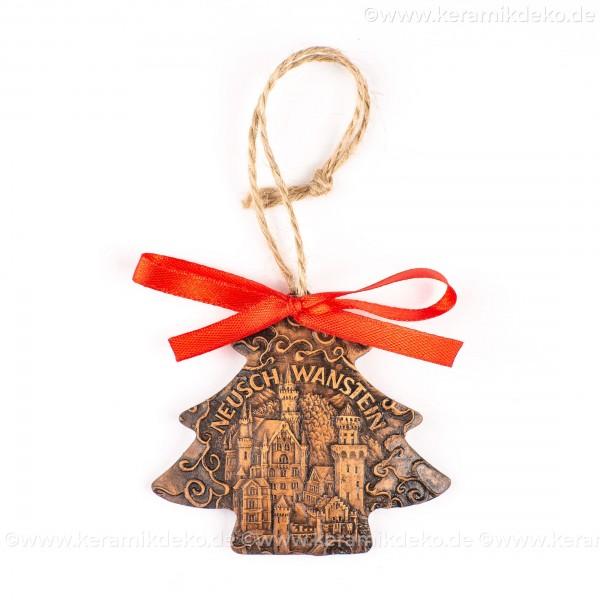 München - Neues Rathaus - Weihnachtsbaum-form, braun, handgefertigte Keramik, Weihnachtsbaumschmuck