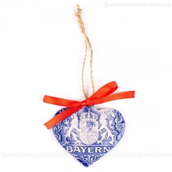 Bayern - Herzform, blau, handgefertigte Keramik, Weihnachtsbaum-Hänger