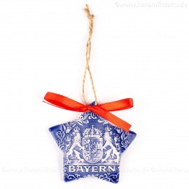 Bayern - Sternform, blau, handgefertigte Keramik, Christbaumschmuck