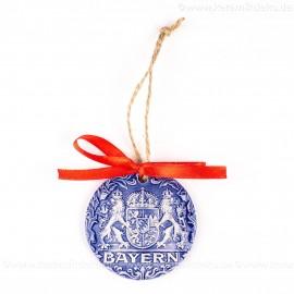 Bayern - runde form, blau, handgefertigte Keramik, Weihnachtsbaumschmuck