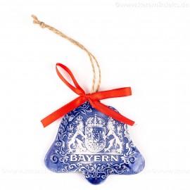 Bayern - Glockenform, blau, handgefertigte Keramik, Baumschmuck zu Weihnachten