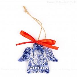 Bayern - Engelform, blau, handgefertigte Keramik, Weihnachtsbaum-Hänger