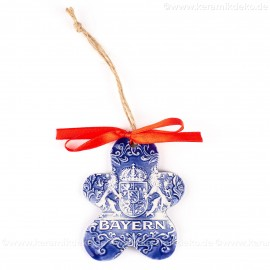 Bayern - Keksform, blau, handgefertigte Keramik, Christbaumschmuck