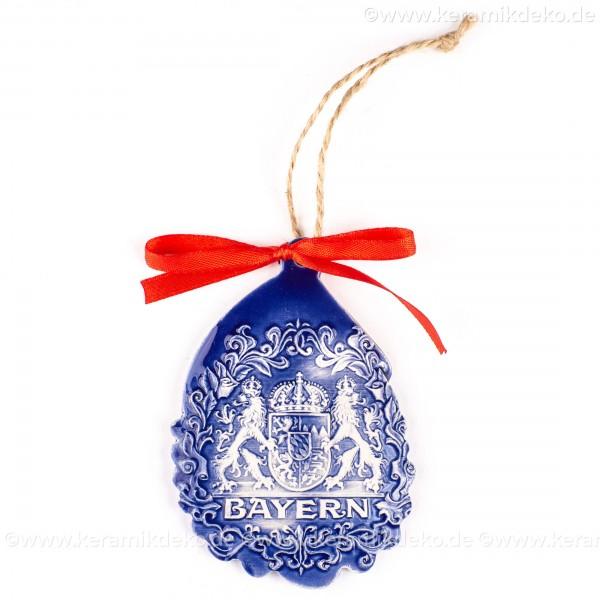 Bayern - Weihnachtsmann-form, blau, handgefertigte Keramik, Baumschmuck zu Weihnachten