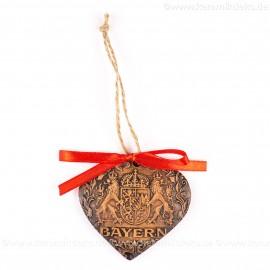 Bayern - Herzform, braun, handgefertigte Keramik, Weihnachtsbaum-Hänger