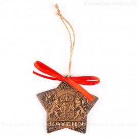 Bayern - Sternform, braun, handgefertigte Keramik, Christbaumschmuck