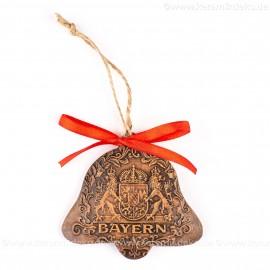 Bayern - Glockenform, braun, handgefertigte Keramik, Baumschmuck zu Weihnachten