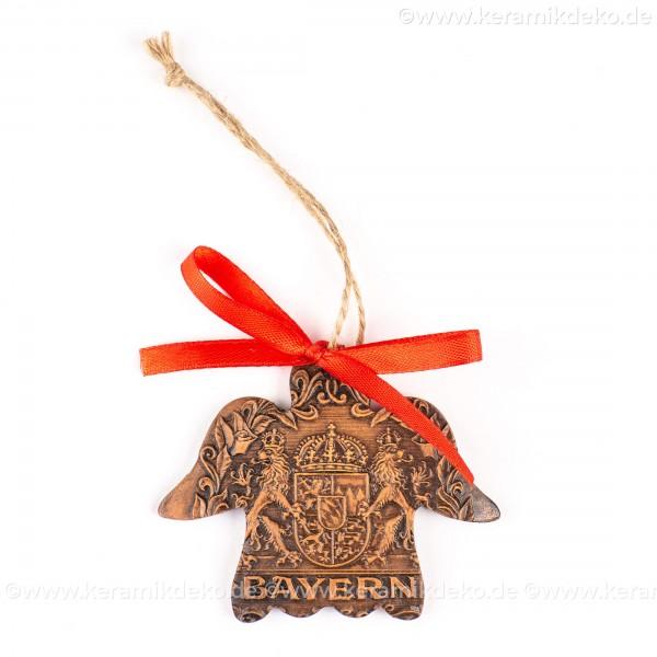Bayern - Engelform, braun, handgefertigte Keramik, Weihnachtsbaum-Hänger