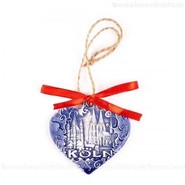 Kölner Dom - Herzform, blau, handgefertigte Keramik, Weihnachtsbaum-Hänger