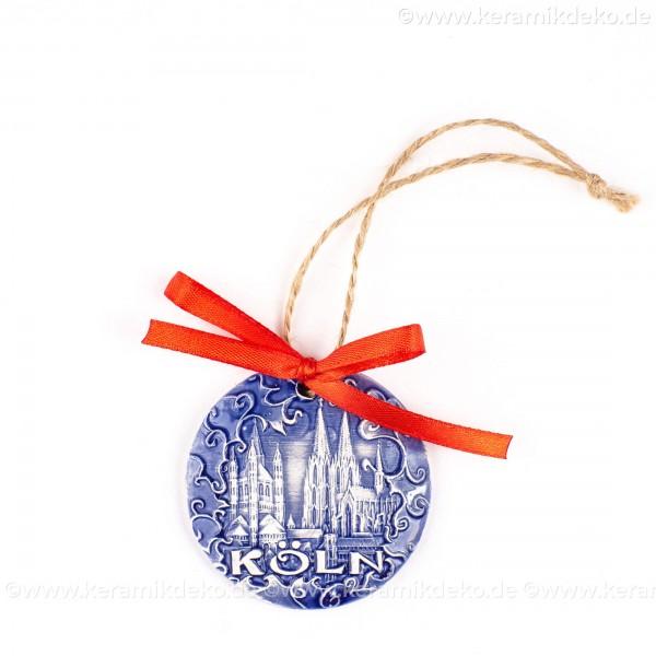 Kölner Dom - runde form, blau, handgefertigte Keramik, Weihnachtsbaumschmuck