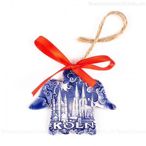 Kölner Dom - Engelform, blau, handgefertigte Keramik, Weihnachtsbaum-Hänger