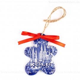 Kölner Dom - Keksform, blau, handgefertigte Keramik, Christbaumschmuck