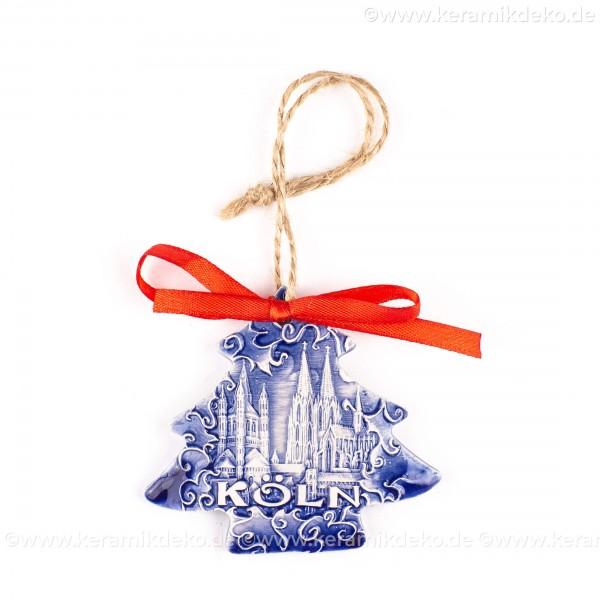 Kölner Dom - Weihnachtsbaum-form, blau, handgefertigte Keramik, Weihnachtsbaumschmuck