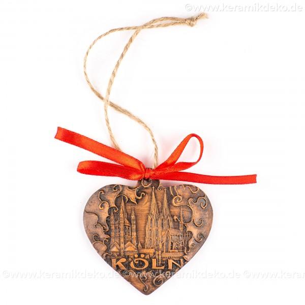 Kölner Dom - Herzform, braun, handgefertigte Keramik, Weihnachtsbaum-Hänger