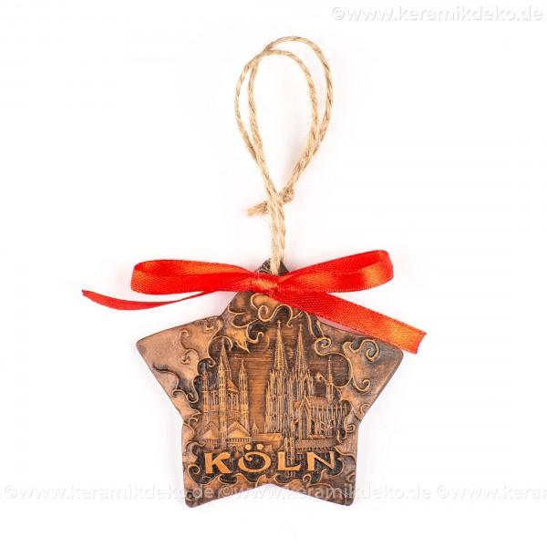 Kölner Dom - Sternform, braun, handgefertigte Keramik, Christbaumschmuck