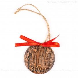 Kölner Dom - runde form, braun, handgefertigte Keramik, Weihnachtsbaumschmuck