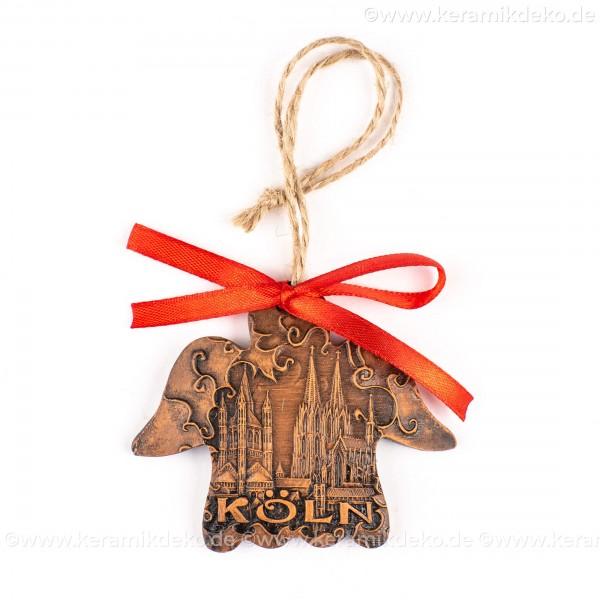 Kölner Dom - Engelform, braun, handgefertigte Keramik, Weihnachtsbaum-Hänger
