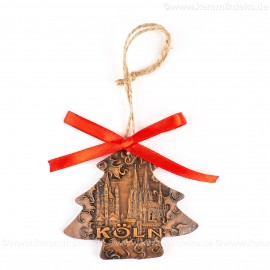 Kölner Dom - Weihnachtsbaum-form, braun, handgefertigte Keramik, Weihnachtsbaumschmuck