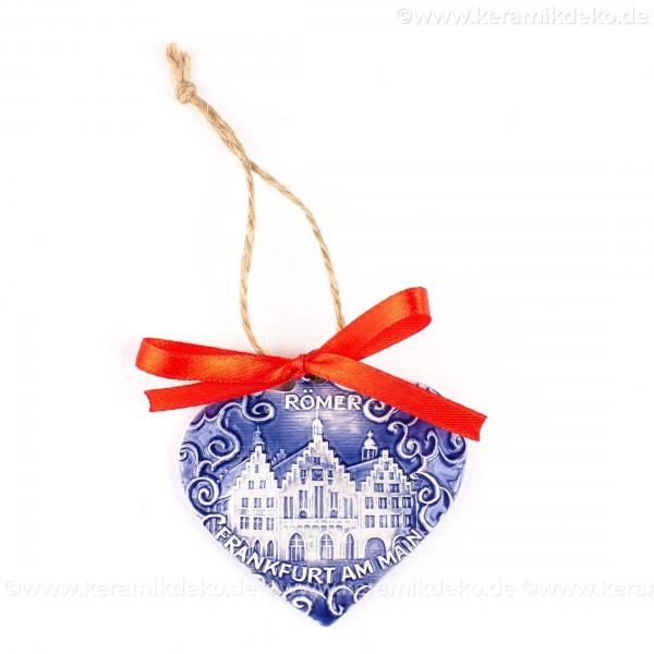 Frankfurter Römer - Altstadt - Herzform, blau, handgefertigte Keramik, Weihnachtsbaum-Hänger