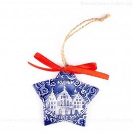 Frankfurter Römer - Altstadt - Sternform, blau, handgefertigte Keramik, Christbaumschmuck