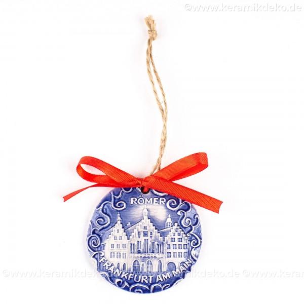 Frankfurter Römer - Altstadt - runde form, blau, handgefertigte Keramik, Weihnachtsbaumschmuck