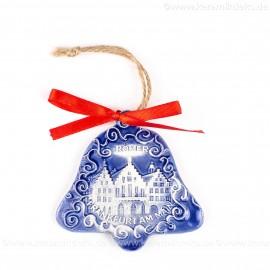 Frankfurter Römer - Altstadt - Glockenform, blau, handgefertigte Keramik, Baumschmuck zu Weihnachten