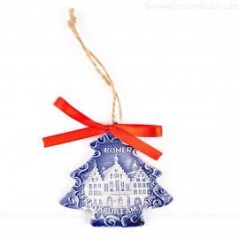 Frankfurter Römer - Altstadt - Weihnachtsbaum-form, blau, handgefertigte Keramik, Weihnachtsbaumschmuck