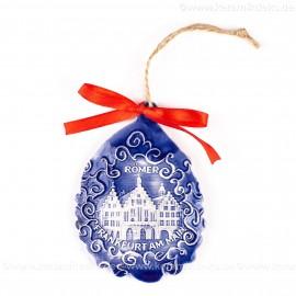 Frankfurter Römer - Altstadt - Weihnachtsmann-form, blau, handgefertigte Keramik, Baumschmuck zu Weihnachten