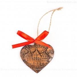 Frankfurter Römer - Altstadt - Herzform, braun, handgefertigte Keramik, Weihnachtsbaum-Hänger