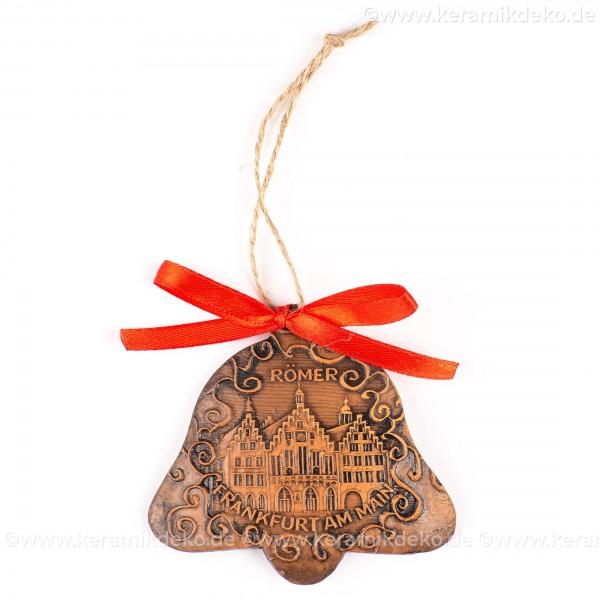 Frankfurter Römer - Altstadt - Glockenform, braun, handgefertigte Keramik, Baumschmuck zu Weihnachten