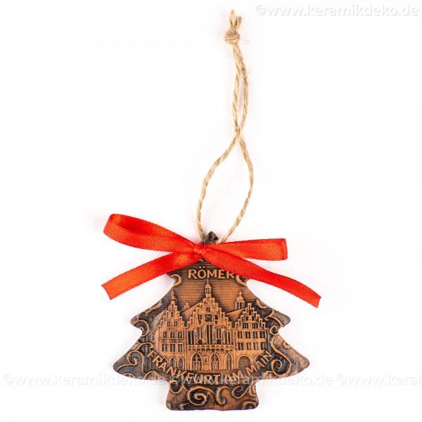 Frankfurter Römer - Altstadt - Weihnachtsbaum-form, braun, handgefertigte Keramik, Weihnachtsbaumschmuck