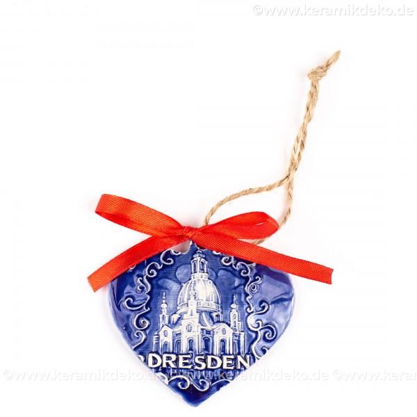Dresden - Herzform, blau, handgefertigte Keramik, Weihnachtsbaum-Hänger