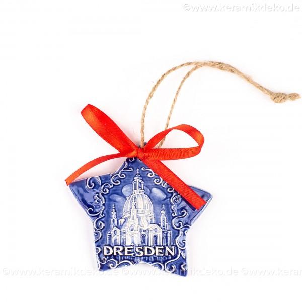 Dresden - Sternform, blau, handgefertigte Keramik, Christbaumschmuck