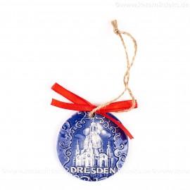 Dresden - runde form, blau, handgefertigte Keramik, Weihnachtsbaumschmuck