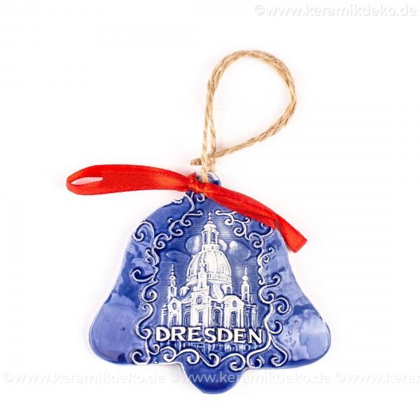Dresden - Glockenform, blau, handgefertigte Keramik, Baumschmuck zu Weihnachten