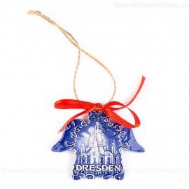 Dresden - Engelform, blau, handgefertigte Keramik, Weihnachtsbaum-Hänger