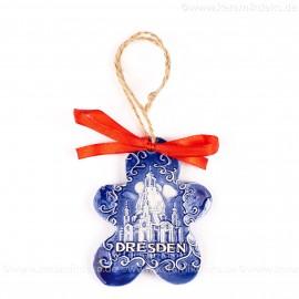 Dresden - Keksform, blau, handgefertigte Keramik, Christbaumschmuck