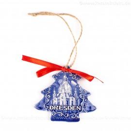 Dresden - Weihnachtsbaum-form, blau, handgefertigte Keramik, Weihnachtsbaumschmuck