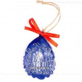 Dresden - Weihnachtsmann-form, blau, handgefertigte Keramik, Baumschmuck zu Weihnachten